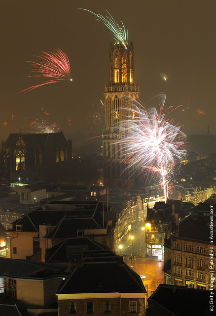 Fireworks Welcome In The New Year In Utrecht