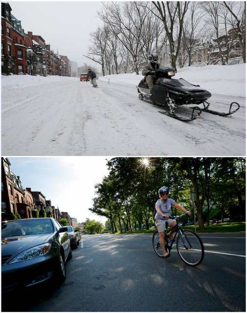 A combination picture shows a snowmobile pulling a man on a snowboard on Commonwealth Avenue in Boston, Massachusetts, United States following a winter storm February 15, 2015 (top), and a cyclist riding down the same street June 13, 2015. (Photo by Brian Snyder/Reuters)