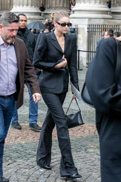 Model Gigi Hadid attends Peter Lindbergh's funeral at Eglise Saint-Sulpice on September 24, 2019 in Paris, France. (Photo by Marc Piasecki/Getty Images)