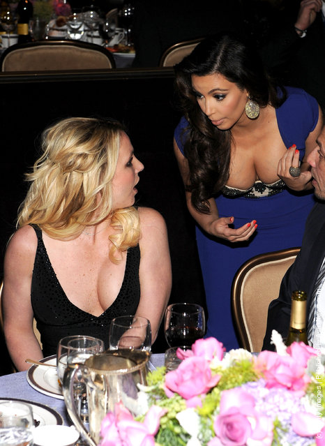 Singer Britney Spears and TV personality Kim Kardashian attend Clive Davis and the Recording Academy's 2012 Pre-GRAMMY Gala and Salute to Industry Icons Honoring