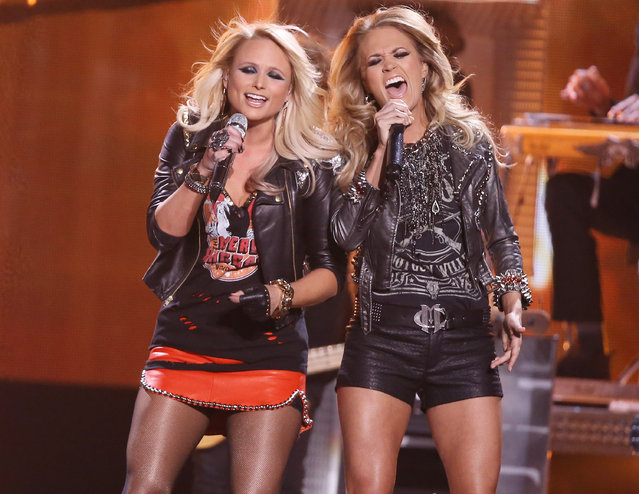 Miranda Lambert (L) and Carrie Underwood perform onstage during the 2014 Billboard Music Awards held at MGM Grand Garden Arena on May 18, 2014 in Las Vegas, Nevada. (Photo by Michael Tran/FilmMagic)