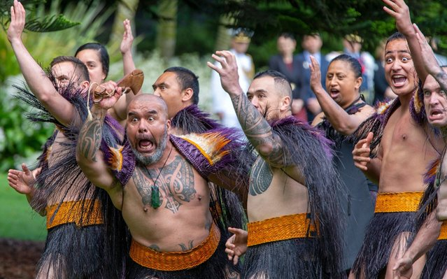 Prince Charles and Camilla, Duchess of Cornwall are greeted by ceremonial Maori warriors as they attend an official ceremony of welcome at Government House during their royal visit to New Zealand in Auckland, New Zealand, 19 November 2019. The visit will be part of a week-long tour of the country which also takes in Christchurch and Kaikoura. (Photo by David Rowland/EPA/EFE)