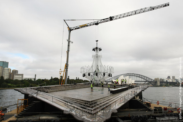 La Traviata chandelier is positioned on stage at Mrs Macquarie's Point on March 16, 2012 in Sydney, Australia