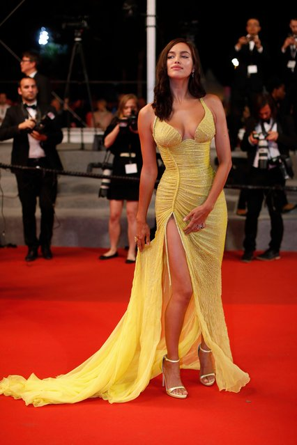 Model Irina Shayk poses for photographers upon arrival at the screening of the film Hikari at the 70th international film festival, Cannes, southern France, Tuesday, May 23, 2017. (Photo by Thibault Camus/AP Photo)