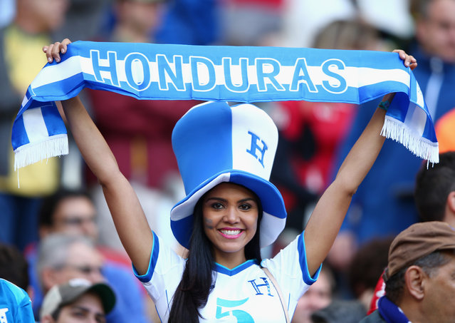 A Honduras fan looks on during the 2014 FIFA World Cup Brazil Group E match between France and Honduras at Estadio Beira-Rio on June 15, 2014 in Porto Alegre, Brazil. (Photo by Ian Walton/Getty Images)