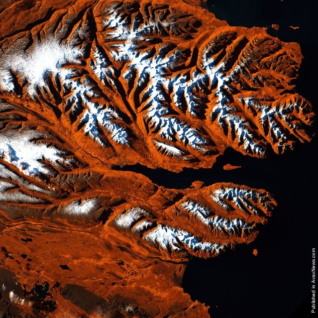 This stretch of Iceland's northern coast resembles a tiger's head, complete with stripes of orange, black and white