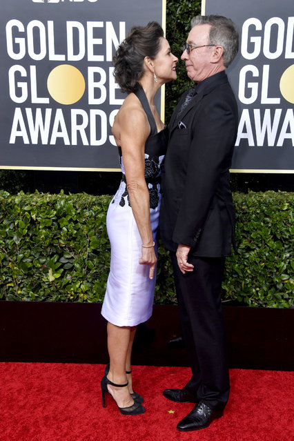 (L-R) Jane Hajduk and Tim Allen attend the 77th Annual Golden Globe Awards at The Beverly Hilton Hotel on January 05, 2020 in Beverly Hills, California. (Photo by Frazer Harrison/Getty Images)