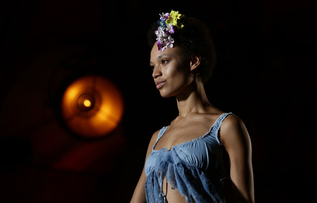 """A model wears a creation by """"Como un pez en el agua"""" (Like a fish in the water) for the Spring/Summer 2017-2018 fashion show as part of 080 Barcelona fashion week in Barcelona, Spain, Thursday, June 29, 2017. (Photo by Manu Fernandez/AP Photo)"""
