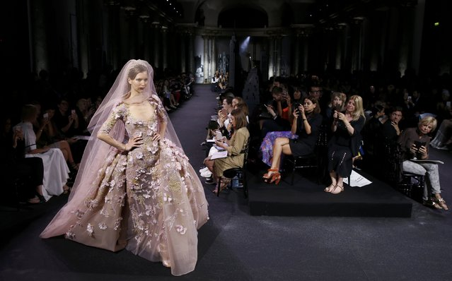 A model presents a creation by Lebanese designer Elie Saab as part of his Haute Couture Fall/Winter 2016/2017 collection in Paris, France, July 6, 2016. (Photo by Gonzalo Fuentes/Reuters)