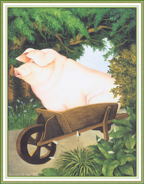 Pig in a Wheelbarrow. Artwork by Beryl Cook