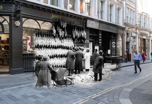 Archive: Christmas turkeys, hanging outside a poulterers in Watling Street on December 1923 in London, England.  (Photo by Topical Press Agency/Getty Images) Modern Day: Shoppers walk along Watling Street on November 23, 2017 in London, England. (Photo by Peter Macdiarmid/Getty Images)