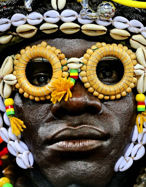 A Burkina Faso soccer fan waits for the start of the African Cup of Nations semi-final soccer match at Mbombela Stadium against Ghana in Nelspruit, South Africa, on February 6, 2013. (Photo by Themba Hadebe/Associated Press)