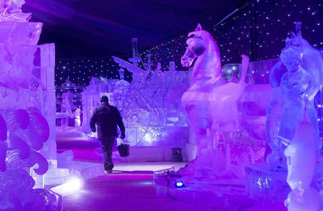A sculptor carries a bucket while walking past ice sculptures at the Disney Dreams Ice Festival in Antwerp November 27, 2014. (Photo by Yves Herman/Reuters)