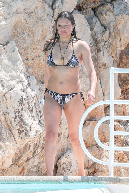 Michelle Rodriguez swimming at Eden Roc Hotel in Antibes, France on May 17, 2018. (Photo by Splash News and Pictures)