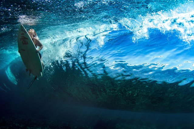 A surfer swims beneath a wave. (Photo by Sarah Lee/Caters News)