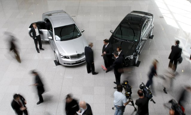 Two new General Motors Holden Veritas sit in a showroom in Melbourne in this September 5, 2008 file photo. Australia is expected to release car sales data this week. (Photo by Mick Tsikas/Reuters)