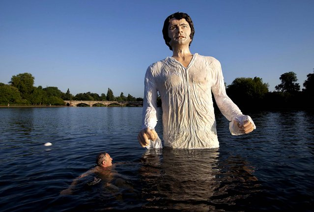 "A swimmer approaches a statue meant to depict actor Colin Firth performing as Mr. Darcy, a character in Jane Austen's novel ""Pride and Prejudice"", at Serpentine Lake in London's Hyde Park, on July 8, 2013. (Photo by David Parry/PA)"