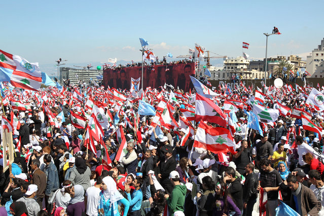 Protesters wave Lebanese