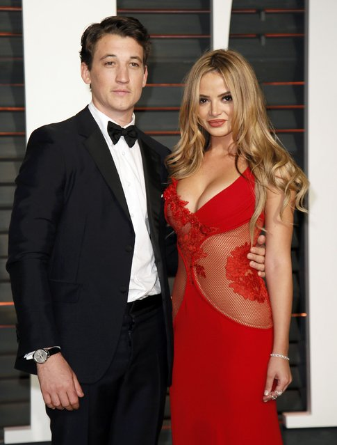 Actor Miles Teller and Keleigh Sperry arrive at the 2015 Vanity Fair Oscar Party in Beverly Hills, California February 22, 2015. (Photo by Danny Moloshok/Reuters)
