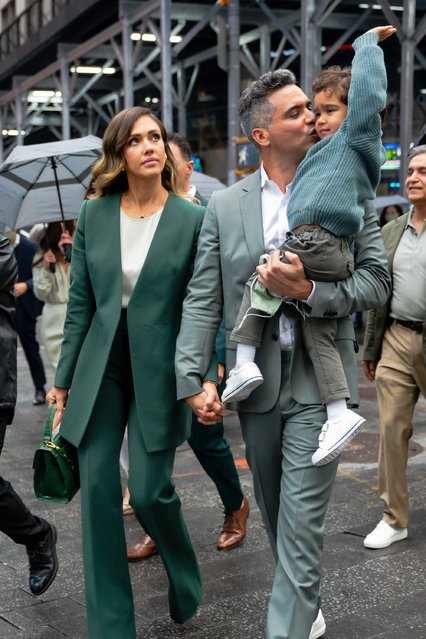 American actress Jessica Alba and Cash Warren are seen in Midtown on May 05, 2021 in New York City. (Photo by Gotham/GC Images)