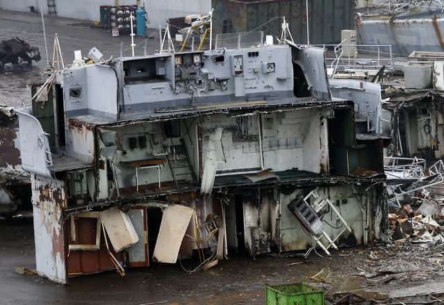 The dismantled steering cabin of a French navy vessel is seen the Galloo ship recycling plant in Ghent February 25, 2015. (Photo by Francois Lenoir/Reuters)