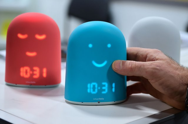 Remi, the smart alarm clock for kids, which offers a night tracker, a sleep trainier and a storyteller, from UrbanHello on display on the showroom floor at the 2017 Consumer Electronics Show in Las Vegas, Nevada, on January 5, 2017. (Photo by Frederic J. Brown/AFP Photo)