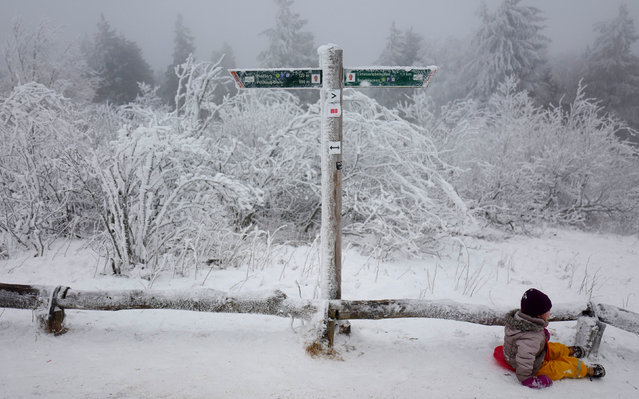 A child slides past a snow and ice covered sign on top of the Feldberg mountain, in Germany January 8, 2017. (Photo by Kai Pfaffenbach/Reuters)