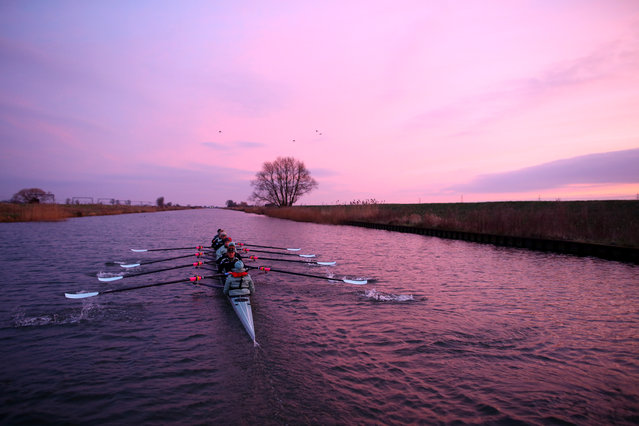 The Cambridge University Boat Club Women's crew head out before sunrise to train on the River Great Ouse ahead of this years 2016 Cancer Research UK University Boat Race on February 17, 2016 in Ely, England. (Photo by Richard Heathcote/Getty Images)