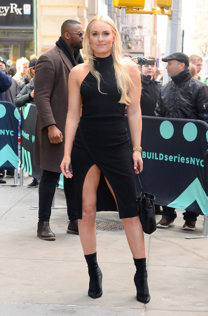 Lindsey Vonn is seen leaving aol live in soho on February 21, 2019 in New York City. (Photo by Raymond Hall/GC Images)