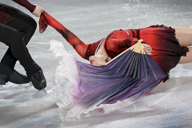 In this Sunday, March 24, 2019, file photo, free skate pairs gold medalist Sui Wenjing and Han Cong of China perform during the gala exhibition for the ISU World Figure Skating Championships at Saitama Super Arena in Saitama, north of Tokyo. (Photo by Annice Lyn/AP Photo)