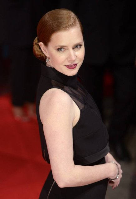 US actress Amy Adams arrives on the red carpet for the 2014 EE British Academy Film Awards ceremony at The Royal Opera House in London, Britain, 16 February 2014. (Photo by Facundo Arrizabalaga/EPA)