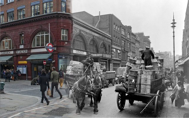 A street scene in London's Covent Garden with the underground station and a horse and cart in the background in c.1930 and the same street in 2014. (Photo by Museum of London/Streetmuseum app)