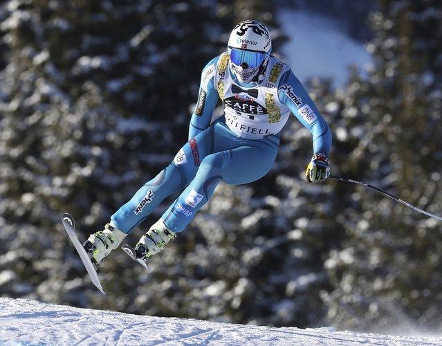 Norway's Kjetil Jansrud competes during an alpine ski, men's World Cup downhill training, in Kvitfjell, Norway, Thursday, February 23, 2017. (Photo by Alessandro Trovati/AP Photo)