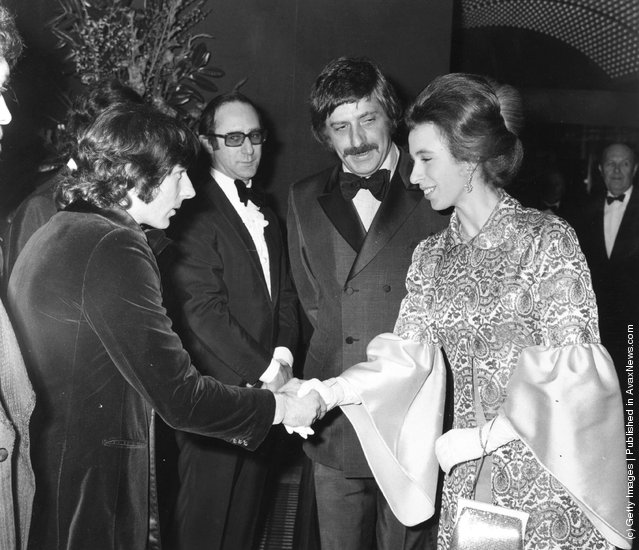 1972: Princess Anne and Polish film director, Roman Polanski shaking hands at the Premiere of Macbeth at London's Plaza Theatre