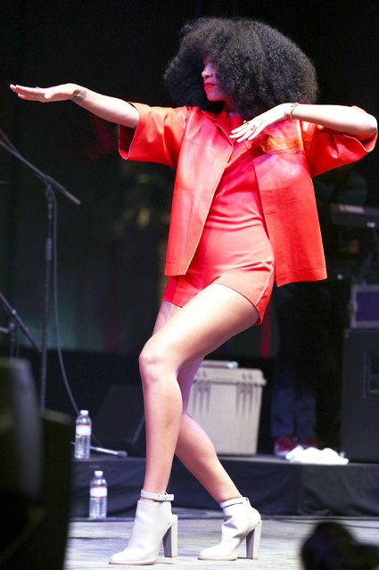 Singer Solange performs onstage during day 2 of the 2014 Coachella Valley Music & Arts Festival at the Empire Polo Club on April 12, 2014 in Indio, California. (Photo by Imeh Akpanudosen/Getty Images for Coachella)