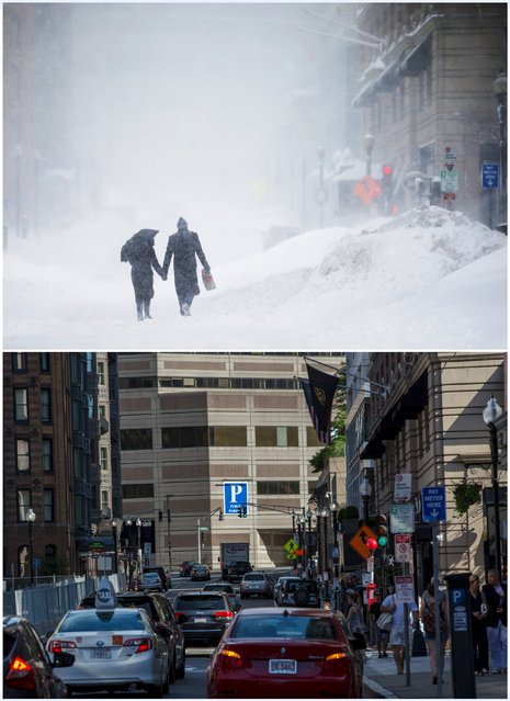 A combination picture shows a couple walking hand-in-hand through the snow in Exeter Street in the Back Bay during a winter blizzard in Boston, Massachusetts, United States February 15, 2015 (top), and traffic in the same location, June 13, 2015. (Photo by Brian Snyder/Reuters)