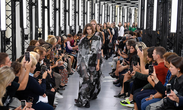 Kaia Gerber walks the runway during the Sacai Ready to Wear Spring/Summer 2020 fashion show as part of Paris Fashion Week on September 30, 2019 in Paris, France. (Photo by WWD/Rex Features/Shutterstock)