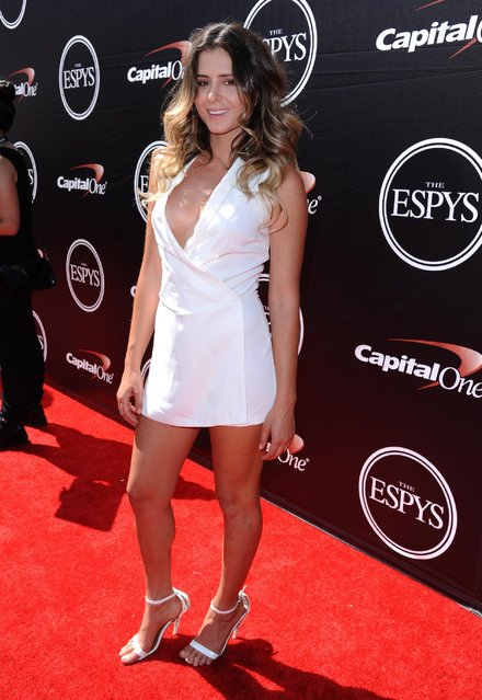 Professional surfer Anastasia Ashley arrives at the ESPY Awards at the Microsoft Theater on Wednesday, July 15, 2015, in Los Angeles. (Photo by Richard Shotwell/Invision/AP Photo)