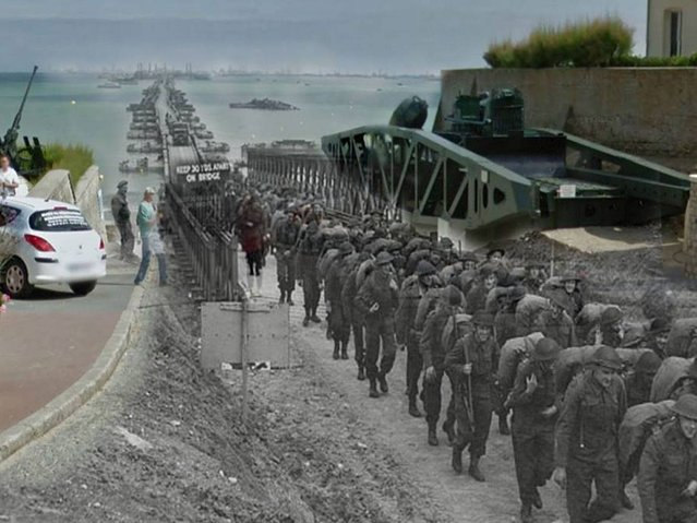 Arromanches: Unidentified troops march onto French soil 1944 – 2014. (Photo by Adam Surrey)