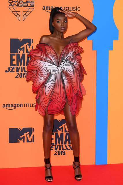 Leomie Anderson attending the MTV Europe Music Awards 2019, held at the FIBES Conference & Exhibition Centre of Seville, Spain on November 03, 2019. (Photo by David Fisher/Rex Features/Shutterstock)