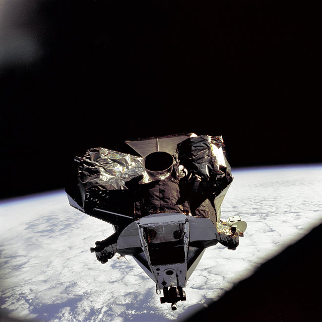 "The Lunar Module ""Spider"" ascent stage is photographed from the Command/Service Module on the fifth day of the Apollo 9 earth-orbital mission. The Lunar Module's descent stage had already been jettisoned. (Photo by NASA)"
