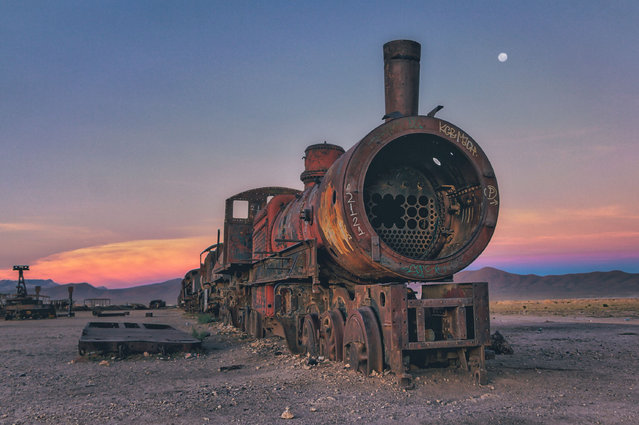 Many of the trains and locomotives are British imports and have been eroded by the harsh Bolivian climate. (Photo by Chris Staring/Rex Features/Shutterstock)