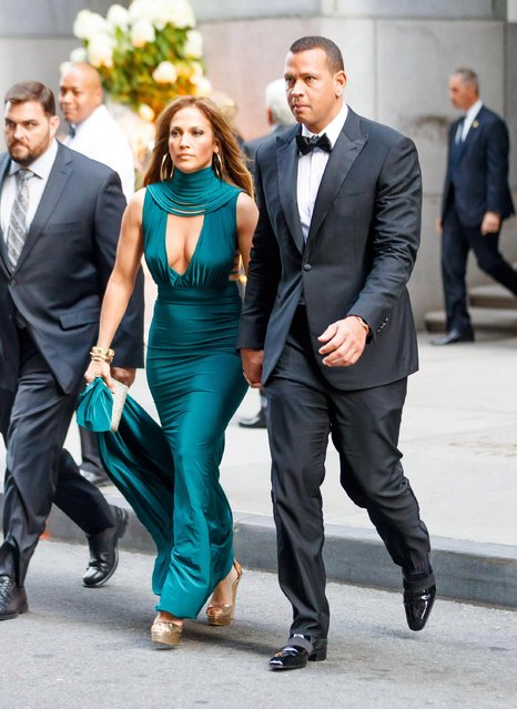 Jennifer Lopez along with Alex Rodriguez were seen attending a friend's wedding in downtown Manhattan this evening, August 8, 2017. (Photo by Daniel/Splash News and Pictures)