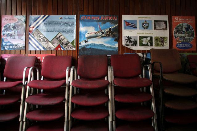 Piled chairs are seen inside a cinema where the Cuban Otaku festival is taking place in Havana, Cuba, July 24, 2016. (Photo by Alexandre Meneghini/Reuters)