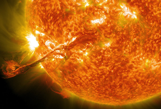 On August 31, 2012, a long filament of solar material that had been hovering in the sun's atmosphere, the corona, erupted out into space at 4:36 p.m. EDT. The coronal mass ejection, or CME, traveled at over 900 miles per second. The CME did not travel directly toward Earth, but did connect with Earth's magnetic environment, or magnetosphere, causing aurora to appear on the night of Monday, September 3. (Photo by NASA/GSFC/SDO)