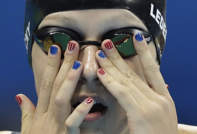 United States' Katie Ledecky prepares before a women's 200-meter freestyle semifinal during the swimming competitions at the 2016 Summer Olympics, Monday, August 8, 2016, in Rio de Janeiro, Brazil. (Photo by Michael Sohn/AP Photo)