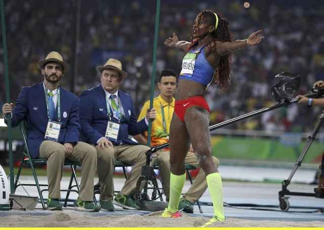 2016 Rio Olympics, Athletics, Final, Women's Triple Jump Final, Olympic Stadium, Rio de Janeiro, Brazil on August 15, 2016. Caterine Ibarguen (COL) of Colombia celebrates winning the gold medal. (Photo by Phil Noble/Reuters)
