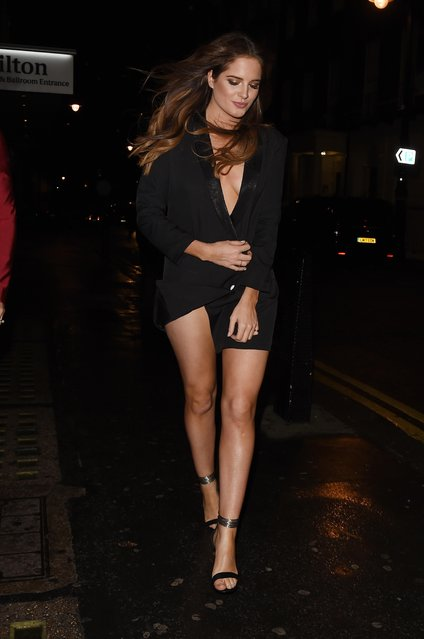 Binky Felted out and about in London, England on November 7, 2017. Binky looked amazing in a black blazer, (Photo by Flynet Pictures)