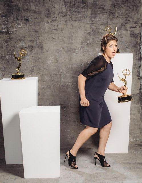 Mayim Bialik poses for a portrait at the Television Academy's 67th Emmy Awards Performers Nominee Reception at the Pacific Design Center on Saturday, September 19, 2015 in West Hollywood, Calif. (Photo by Casey Curry/Invision for the Television Academy/AP Images)