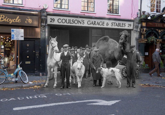 Archive: Stable companions appear in 'Song of the Drum' at Drury Lane Theatre at Endell Street on December 30, 1933 in London, England.  (Photo by Fox Photos/Getty Images) Modern Day: Text on the pavement marks where to load on Endell Street near Covent Garden on November 23, 2017 in London, England. (Photo by Peter Macdiarmid/Getty Images)